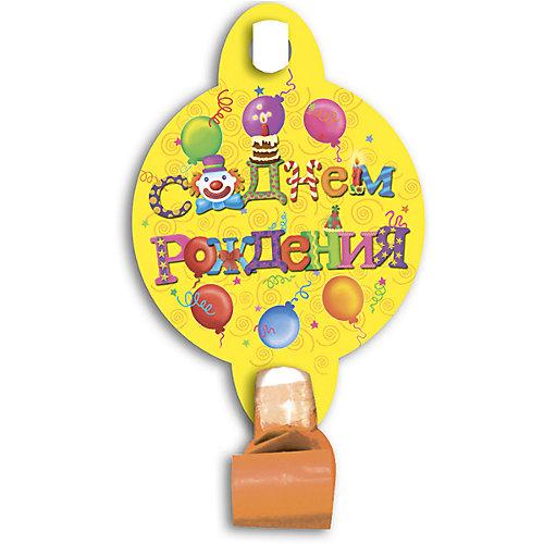 """Язычок-гудок Патибум """"С днём рождения""""с карточкой, 6 шт. от Патибум"""