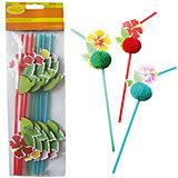 """Трубочки для коктейля  Патибум """"Цветы Гаваи"""" 8 шт."""