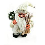 Дед мороз белый  с лыжами и подарками, интерактивный музыкальный идущий 18 см, коробка с окошком