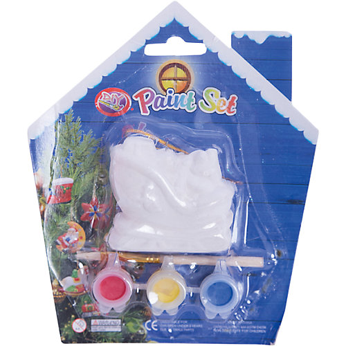 Набор для детского творчества, Санки-6x3x5.7см, 3 краски, кисточка, блистер в форме домика - 14*14 см от MAG2000