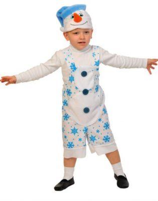 Костюм Снеговичок, ткань-плюш, рост 100-125