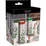 Набор чайных свечей GLOS с подсвечником 6 свечей с цветным пламенем, 2 подсвечника (красные, зеленые)