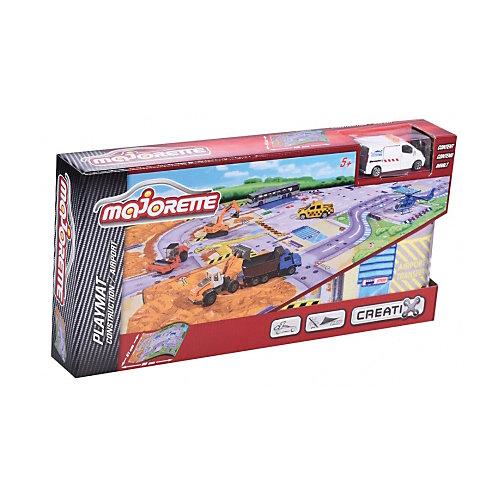 Игровой коврик Creatix, Construction серии, нескользящий + 1 машинка от Majorette