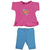 "Одежда для куклы Mary Poppins ""Цветочек"" туника и леггинсы, 38-43 см (розово-голубой)"