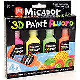 Флюоресцентные 3D-краски, 4 шт, Micador