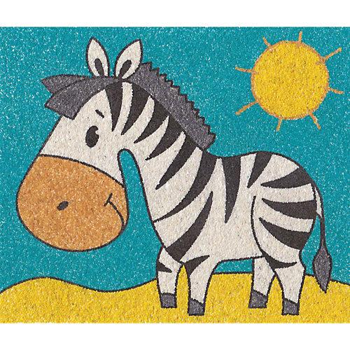 """Набор для творчества. Песочная фреска """"Зебра на прогулке"""" (рамка из картона) от Десятое королевство"""