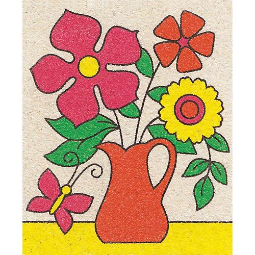 """Набор для творчества. Песочная фреска """"Летний букет""""  (рамка из картона) от Десятое королевство"""