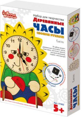 Набор для творчества. Деревянные часы своими руками (с красками). Ёжик