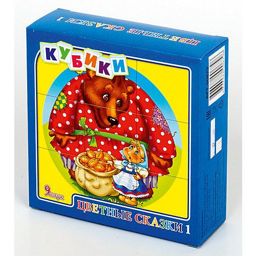 """Кубики """"Цветные сказки-1"""" (без обклейки) 9 шт от Десятое королевство"""