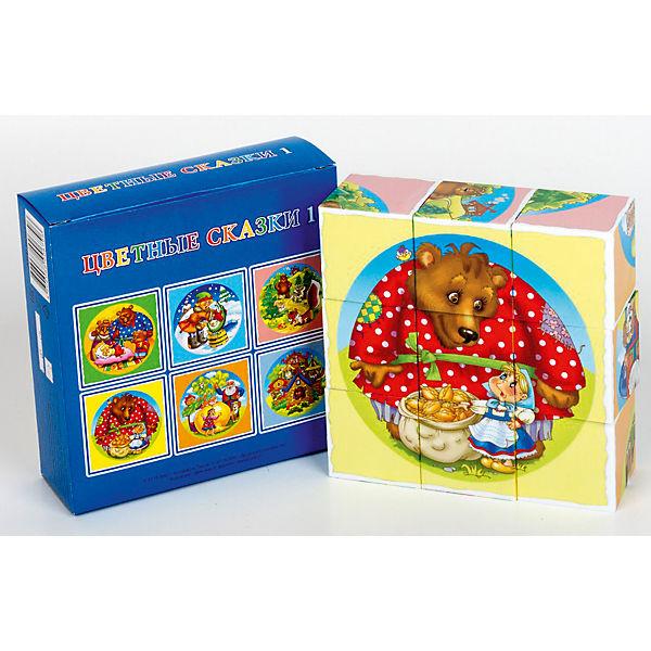 """Кубики """"Цветные сказки-1"""" (без обклейки) 9 шт"""