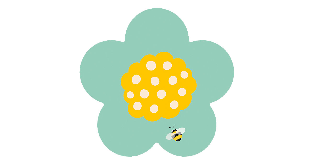 Kinderteppich Ultrasoft Blume Biene, 75 x 75 cm
