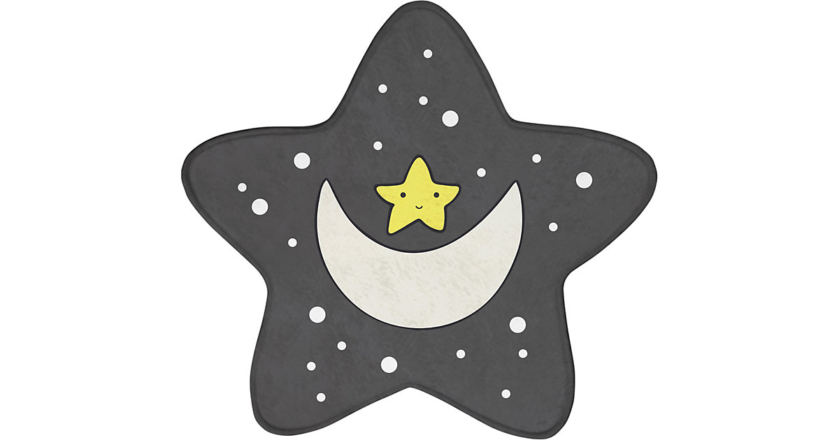 Kinderteppich Ultrasoft Mond & Sterne, 75 x 75 cm grau