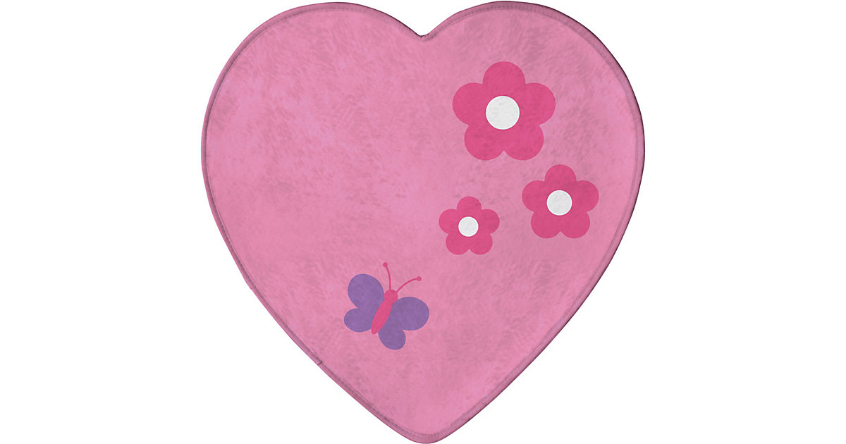Kinderteppich Ultrasoft Schmetterling Herz, 75 x 75 cm rosa