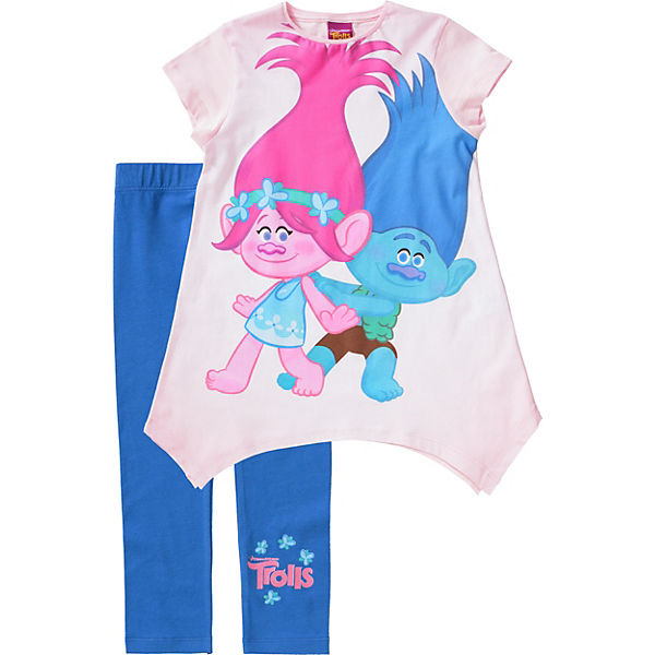Trolls Kinder Set Jerseykleid + Leggings