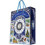 Бумажный пакет Новогодние часы для сувенирной продукции , с ламинацией