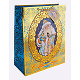Бумажный пакет Дед Мороз и синички для сувенирной продукции, с ламинацией