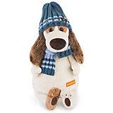 Мягкая игрушка Budi Basa Собака Бартоломей в голубой шапке и шарфе, 27 см