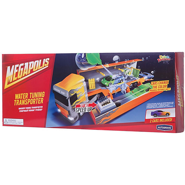 "Автомойка в грузовике Autotime ""Color twisters water"" Rasing Transporter-2, с 2-мя машинками"