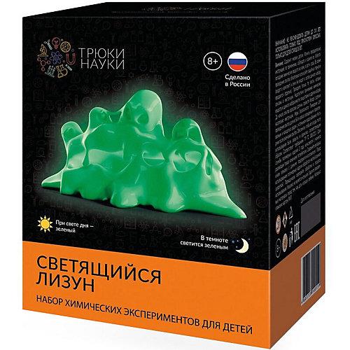 """Набор для опытов по химии Трюки науки """"Светящийся лизун"""" (зеленый/зеленый) от Трюки науки"""