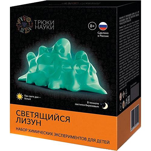 """Набор для опытов по химии Трюки науки """"Светящийся лизун"""" (белый/бирюзовый) от Трюки науки"""