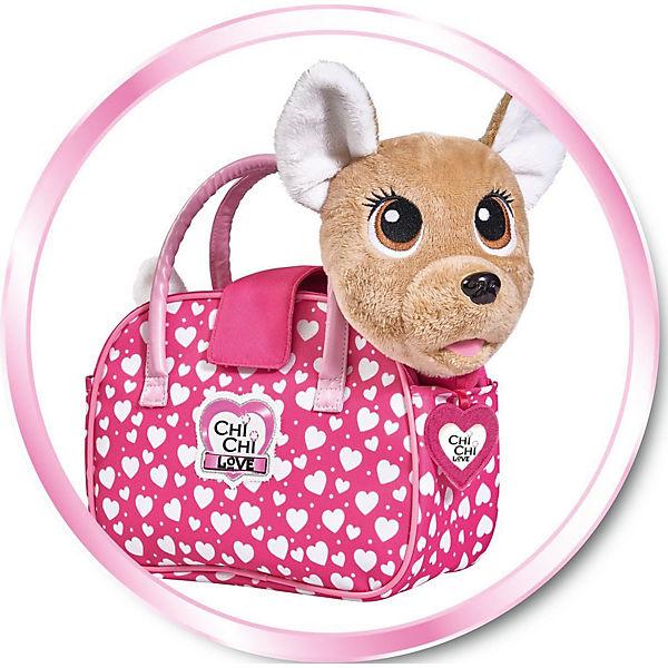 """Интерактивная мягкая игрушка Simba Chi-Сhi Love Собачка """"Счастливчик"""" с сумочкой, 20 см"""