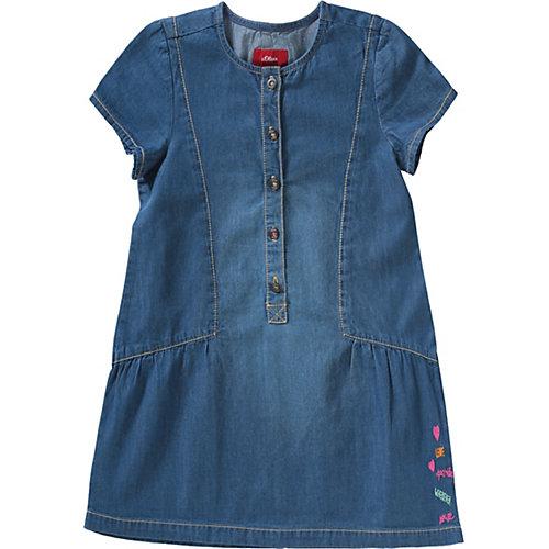 s.Oliver Kinder Jeanskleid mit Stickerei Gr. 134 Mädchen Kinder | 04055268242736