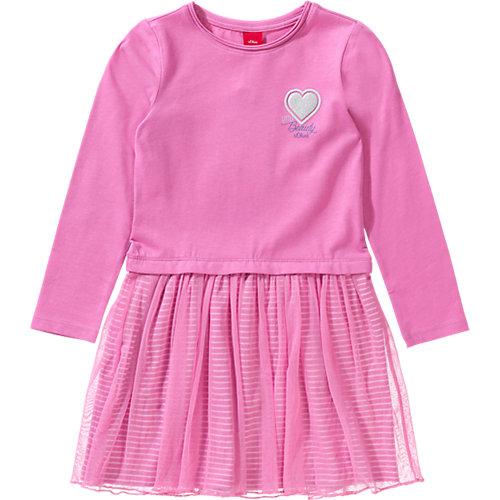 S.Oliver,s.Oliver Baby Jerseykleid mit Tüllrock und Glitzer Gr. 134 Mädchen Kinder | 04055268242828