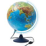 Глобус Земли физико-политический с подсветкой рельефный 320мм