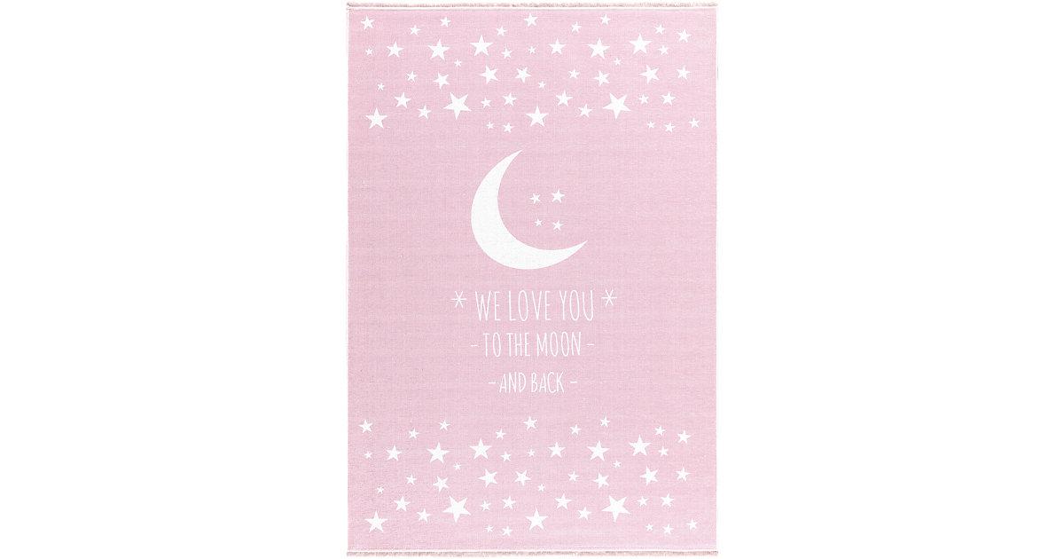 Kinderteppich, LOVE YOU MOON, In- Outdoor rosa/weiß Gr. 100 x 160