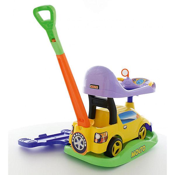 """Машина-каталка с ручкой Полесье """"Пикап"""" многофункциональная, желтая"""