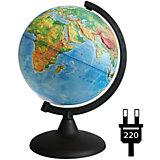 Глобус Земли физический рельефный с подсветкой