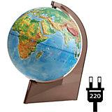 Глобус Земли физический рельефный на треугольнике с подсветкой