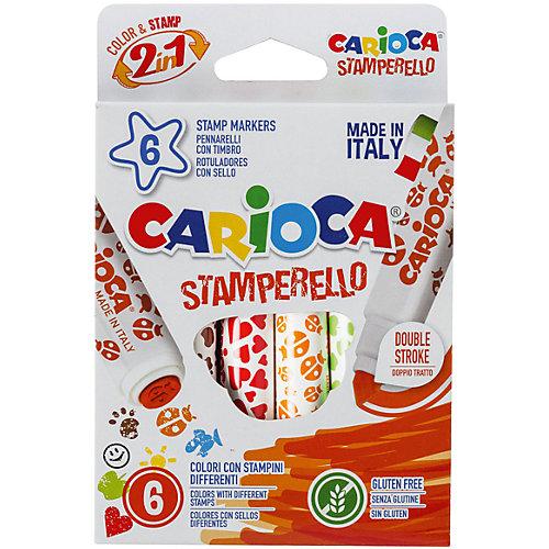Набор фломастеров-штампиков CARIOCA STAMPERELLO, 6 цв., в картонной коробке с европодвесом от Carioca
