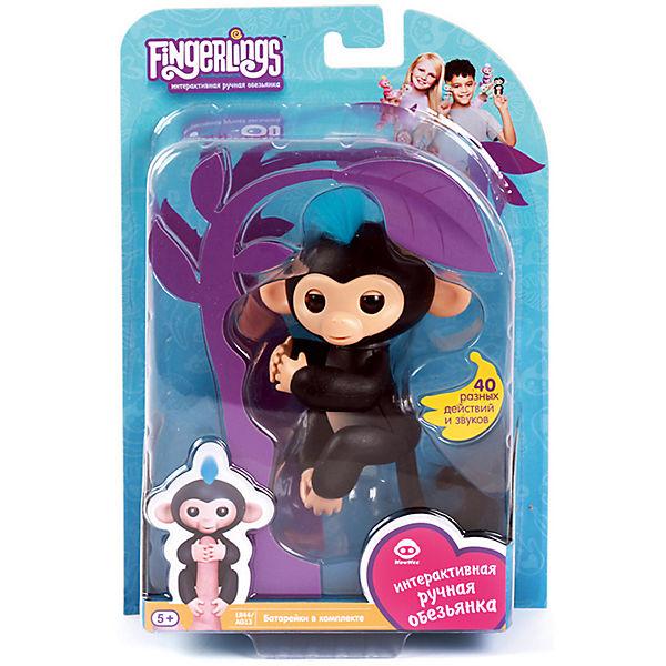 Интерактивная обезьянка Fingerlings Финн, 12 см (черная) WowWee