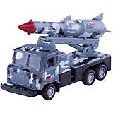 """Металлическая машина Технопарк """"ГАЗ 66 грузовик с ракетой"""", 12 см (серый камуфляж)"""