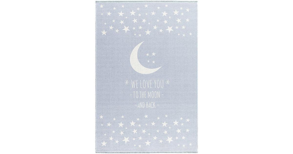 Kinderteppich, LOVE YOU MOON, In- Outdoor hellblau Gr. 100 x 160
