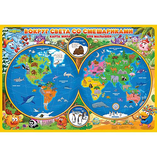 Карта Мира настольная для малышей. Вокруг света со Смешариками. 58х38 см. ЛАМ ГЕОДОМ от ГеоДом