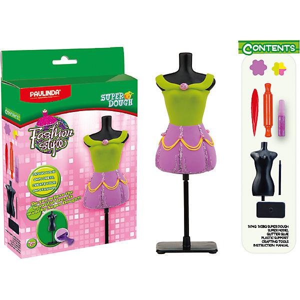 """Масса для лепки Paulinda """"Мода и стиль: Наряд для куклы"""", зелено-розовый"""