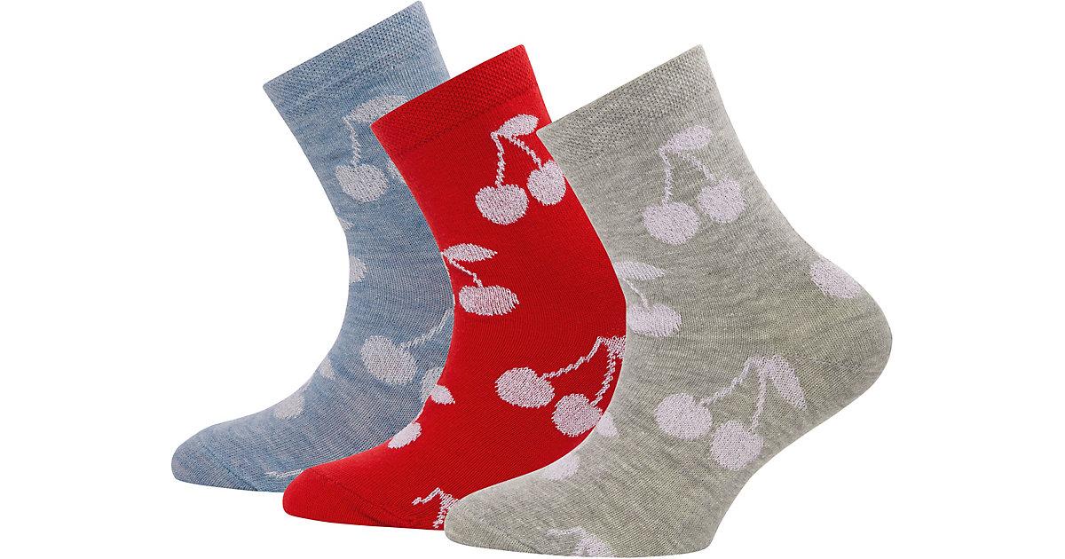 ewers · Socken 3er-Pack mit Glitzer , Kirschen Gr. 31-34 Mädchen Kinder