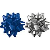 Бант-звезда, 2 штуки в PP пакете с подвесом (синий, серебряный)