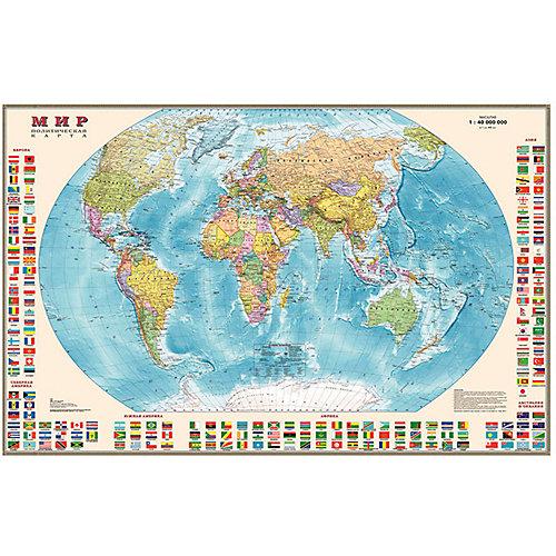 Карта Мира, Политическая с флагами 1:40М от Издательство Ди Эм Би