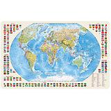 Карта Мира, Политическая с флагами 1:85М с магнитными креплениями
