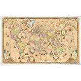 Карта Мира, Политическая, Стиль Ретро, 1:25М на рейках