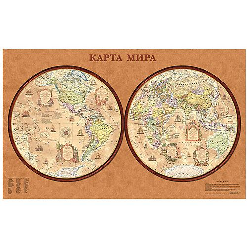 Карта Мира, Политическая, Полушария, стиль Ретро 1:34М от Издательство Ди Эм Би