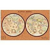 Карта Мира, Политическая, Полушария, стиль Ретро 1:34М