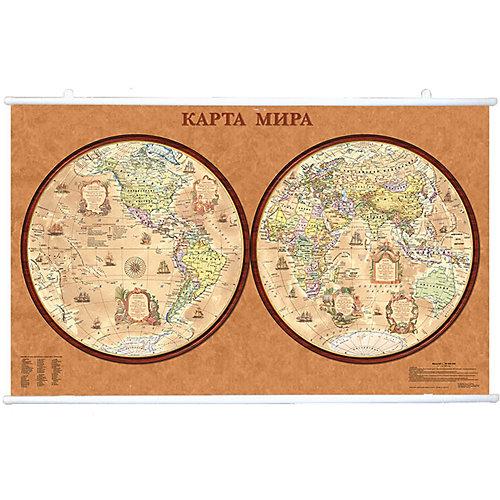 Карта Мира, Политическая, Полушария, стиль Ретро, 1:47М на рейках от Издательство Ди Эм Би