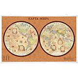 Карта Мира, Политическая, Полушария, стиль Ретро, 1:47М на рейках