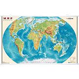 Карта Мира, Физическая, 1:25М на рейках