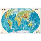 Карта Мира, Физическая 1:35М на рейках