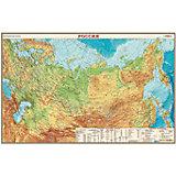 Настольная карта России, физическая, 1:14,5М, двухсторонняя